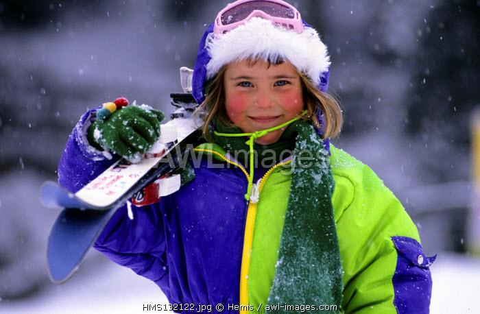 France, Savoie, Valmorel ski resort, young skier