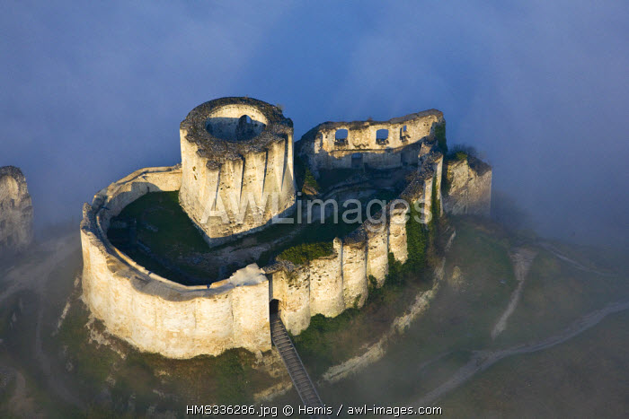 France, Eure, Les Andelys, Chateau Gaillard, 12th century fortress built by Richard the Lionheart (aerial view)
