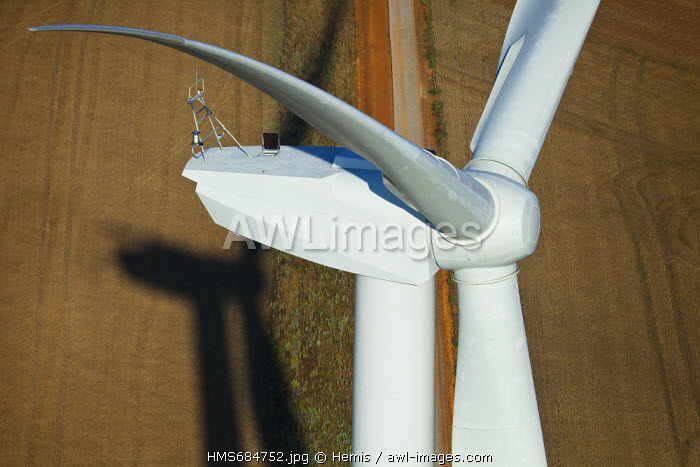 France, Eure, Quittebeuf wind farm, wind turbine REpower MM92 (aerial view)