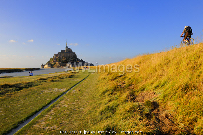 France, Manche, Mont Saint Michel, listed as World Heritage by UNESCO, and the access sea wall along the Cousenon