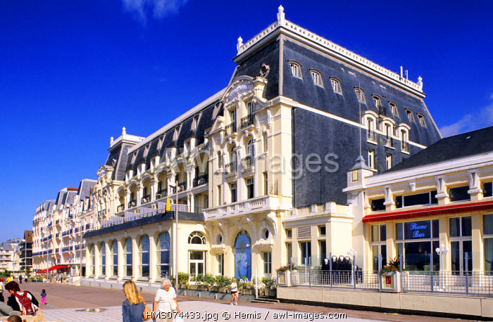 France, Calvados, Cabourg, Promenade des Bord de mer (Seashore Walk) and the Grand Hotel on the Flowered Coast