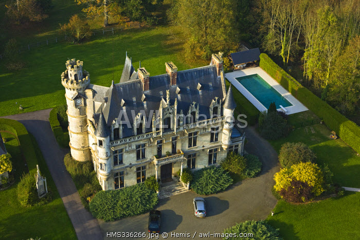 France, Eure, Ecos, Chateau Le Chesnay Haguest (aerial view)