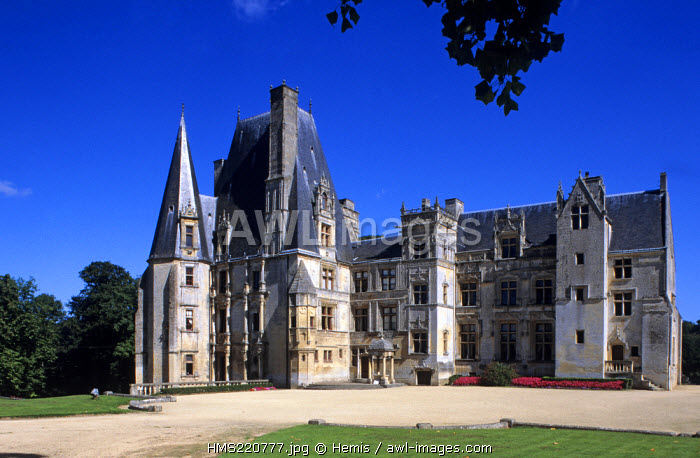 France, Calvados, Valley of the Mue, Chateau de Fontaine Henry, Gothic and Renaissance architecture