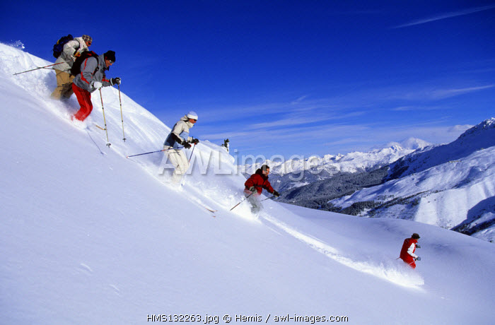 France, Savoie, Meribel, Skiing in the Trois Vallees Skiing Area