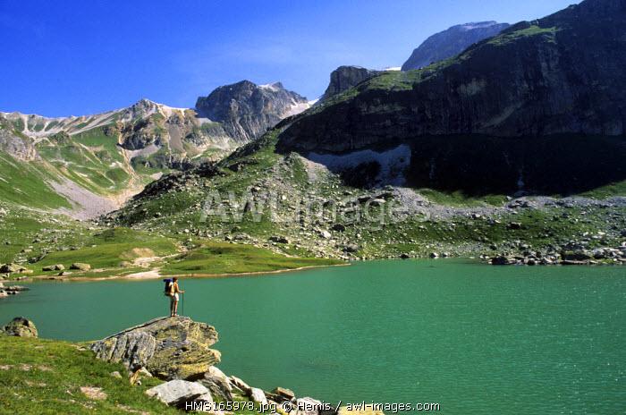 France, Savoie, Vanoise National Park, hiking to the lac de la Partie (GR55)