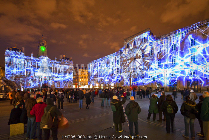 France, Rhone, Lyon, historical site listed as World Heritage by UNESCO, the Hotel de Ville (City hall) and the Palais des Beaux Arts during the Fete des Lumieres (Light Festival)