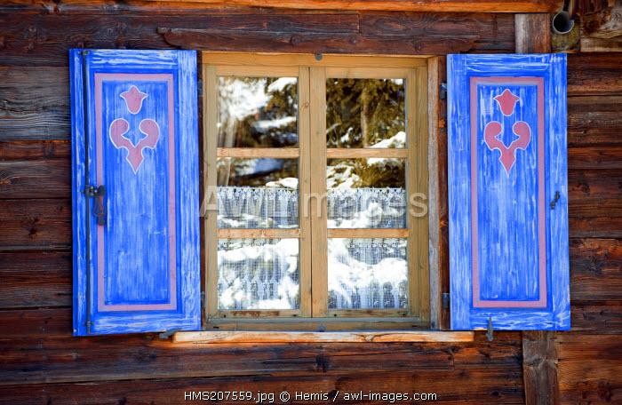 France, Savoie, Courchevel 1850, window detail