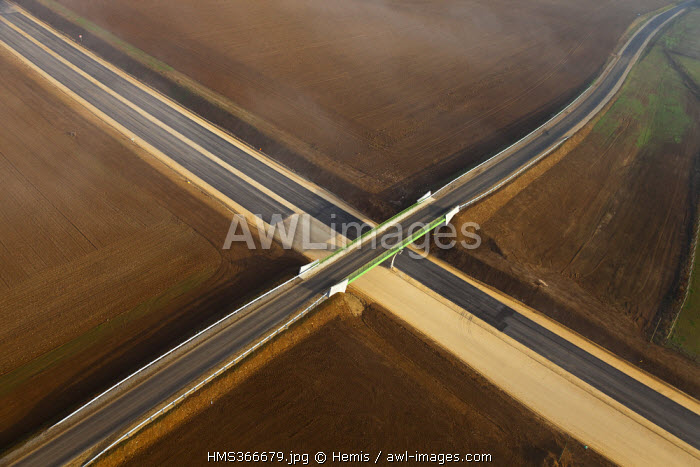 France, Orne, west of Argentan, Vallee de l'Orne (Orne Valley), extension of motorway A88 (aerial view)