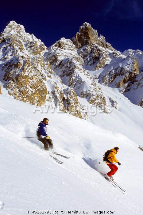 France, Savoie, Meribel, Off Piste Skiing on the Aiguille du Fruit