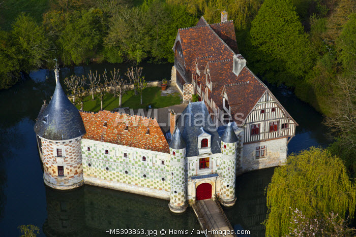 France, Calvados, Chateau de Saint Germain de Livet, consisting of elements of the fifteenth and sixteenth century, partly, listed as historical monument (aerial view)