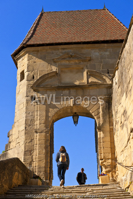 France, Isere, Saint Antoine l'Abbaye, labelled Les Plus Beaux Villages de France (The Most Beautiful Villages of France), on the Route of Santiago de Compostela, the door of the rampart, access to St Antoine Gothic church