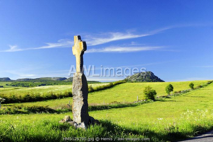 France, Ardeche, Mezenc mountains, Mount Ardeche natural regional park, cross at Saint-Eulalie