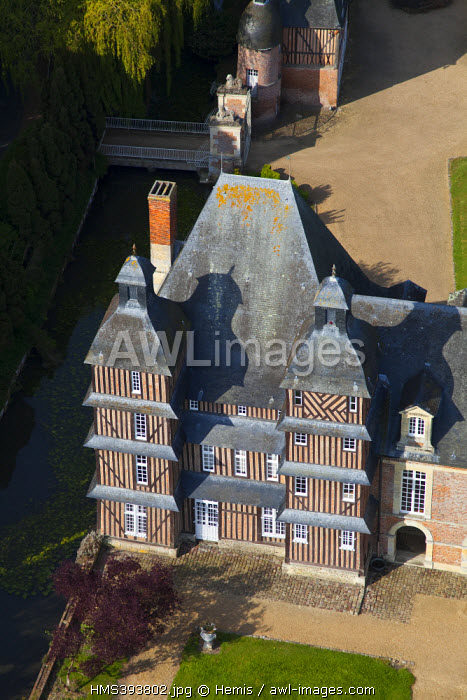 France, Calvados, castle of Grandchamp le Chateau (aerial view)
