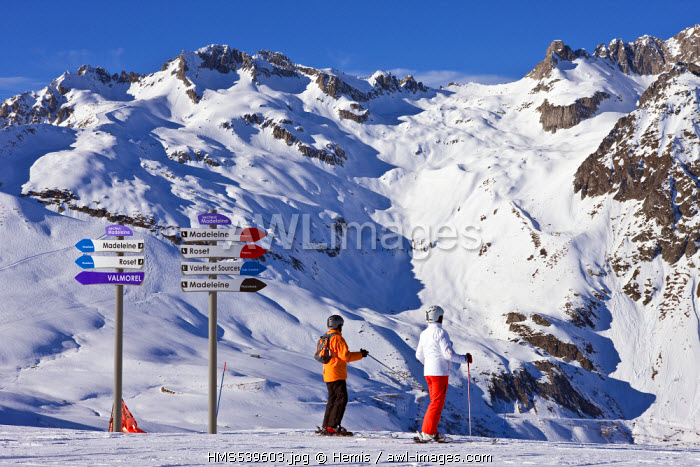 France, Savoie, Valmorel, Massif de la Vanoise, Tarentaise valley, St Fran�ois Longchamp, Maurienne valley, signs at the top of the Madeleine, with a view on the Massif de la Lauziere