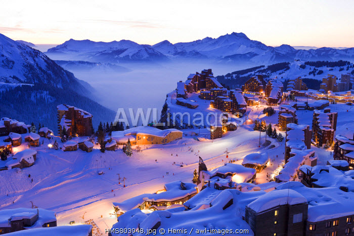 France, Haute Savoie, Avoriaz with a view of Morzine and the Roc d'Enfer (2244m) in the background