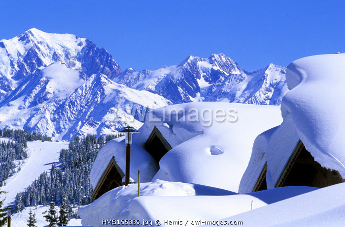 France, Savoie, Les Saisies skiing area and the Mont Blanc
