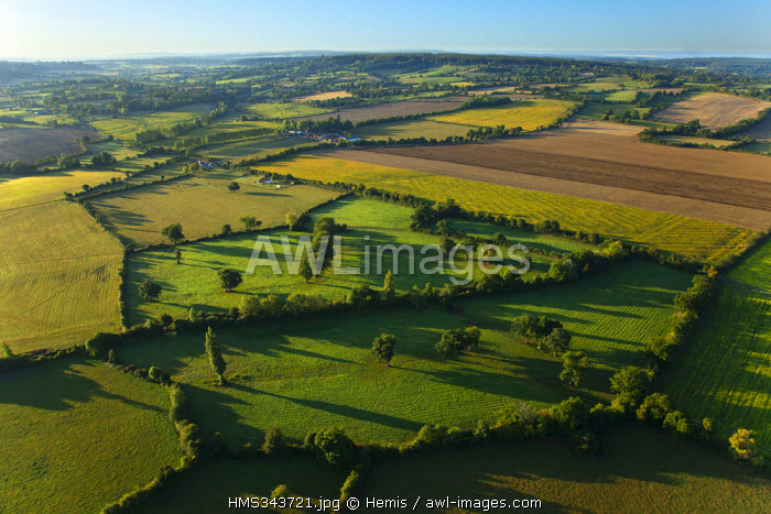 France, Orne, Chambois, site of poche de Falaise or site 44, final and murderous battle of Normandy in August 1944 (aerial view)