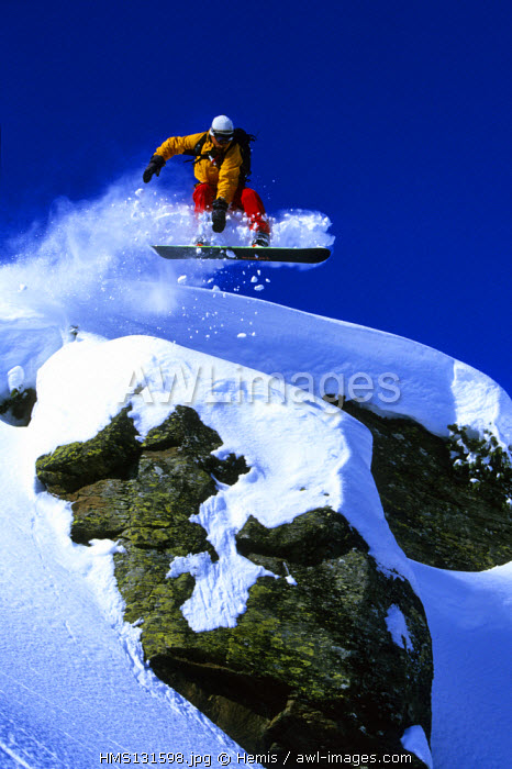 France, Savoie, surfer in the powder snow in Meribel