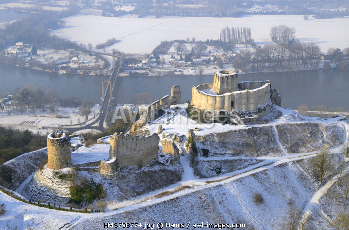 France, Eure, Les Andelys, the ruins of ch�teau Gaillard castle and the Seine river (aerial view)