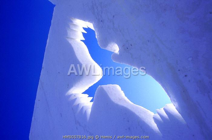 France, Savoie, Valloire, snow sculpture back to the light