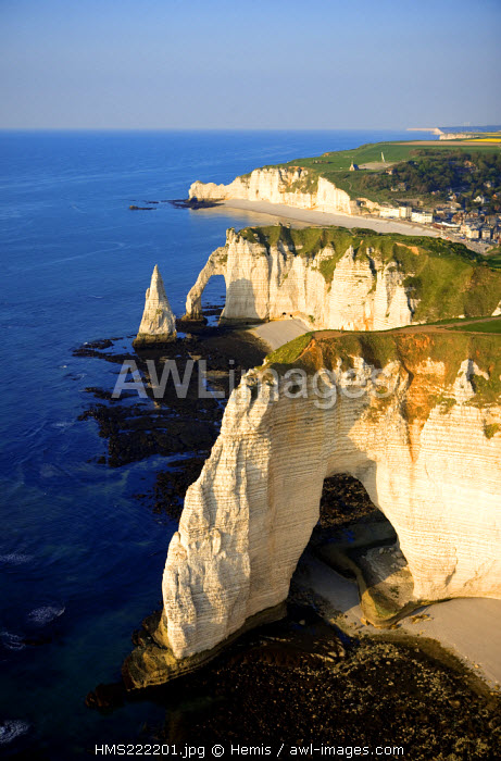 France, Seine Maritime, Pays de Caux, Cote d'Albatre, Etretat, the Aval Cliff and the Aiguille Creuse (aerial view)
