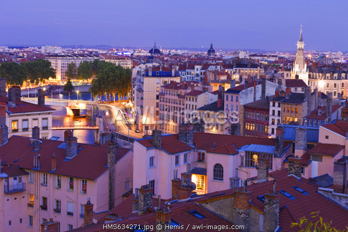 France, Rhone, Lyon, historical site listed as World Heritage by UNESCO, panorama from Place Rouville on La Croix Rousse District