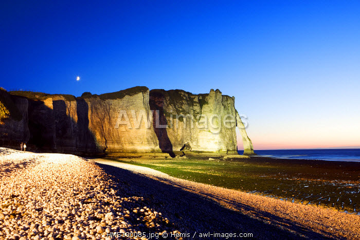 France, Seine Maritime, Pays de Caux, Cote d'Albatre, Etretat, Aval sea cliff and pebble beach at low tide by night
