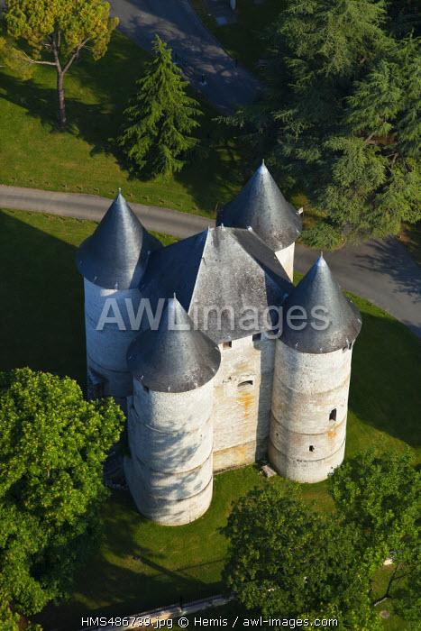 France, Eure, Vernon, Vernonnet, Chateau des Tourelles (aerial view)