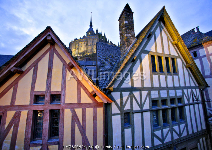 France, Manche, Bay of Mont Saint Michel, listed as World Heritage by UNESCO, Mont Saint Michel village in the evening