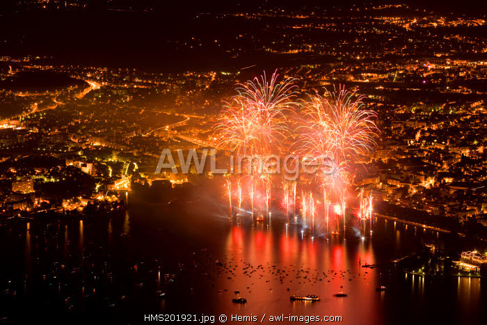 France, Haute Savoie, Annecy from the Mount Baron during the Lake feast
