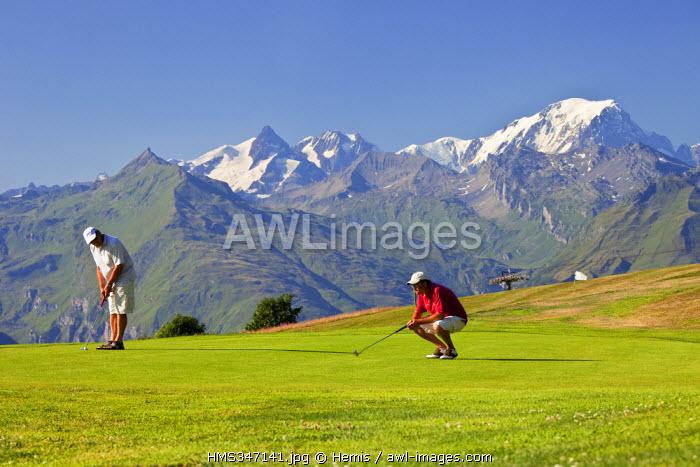 France, Savoie, Les Arcs 1800, the golf course facing Mont Blanc (4810 m)