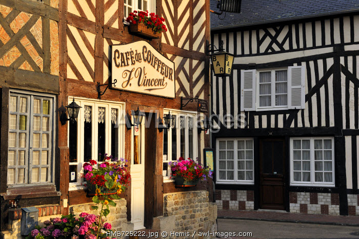 France, Calvados, Pays d'Auge, Beuvron en Auge, labelled Les Plus Beaux Villages de France (The Most Beautiful Villages of France), Cafe du Coiffeur