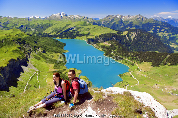 France, Savoie, Beaufortain, summit of the Rocher du vent (2326m) and Roselend lake