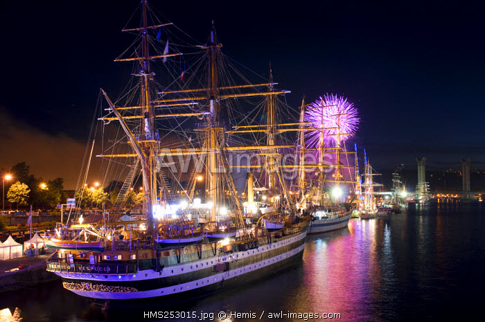 France, Seine Maritime, Rouen, the Armada (concentration of sailboats) 2008 with the Amerigo Vespucci ship in front and fireworks