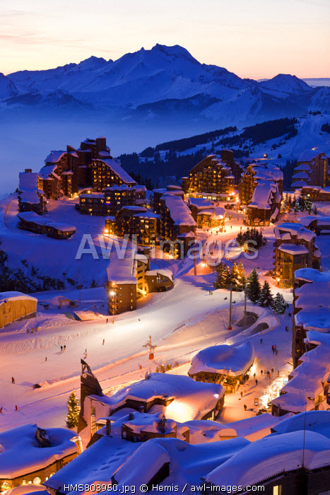 France, Haute Savoie, Avoriaz with a view of the Roc d'Enfer (2244m) in the background