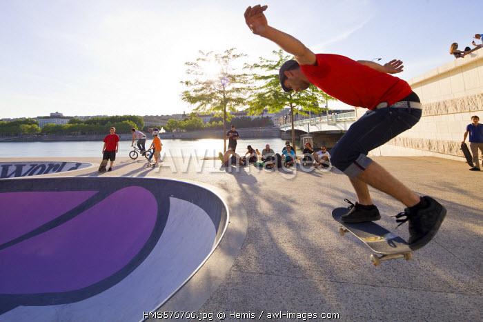 France, Rhone, Lyon, roller skateboard on Rhone River Quays