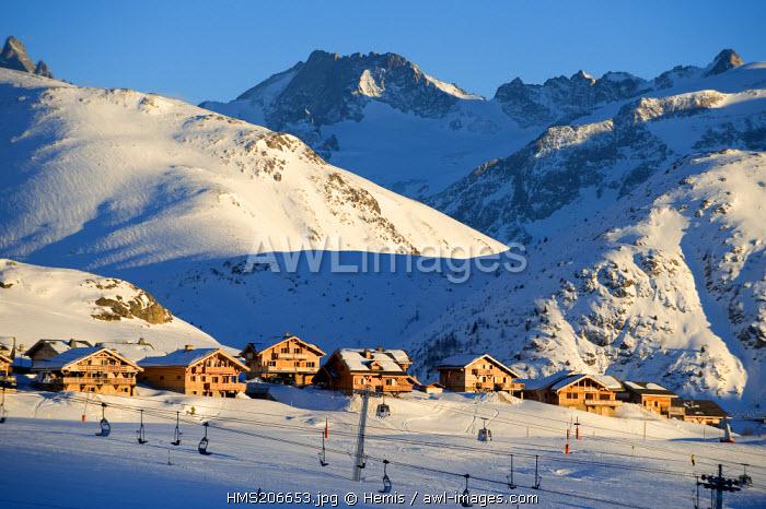 France, Isere, L'Alpe d'Huez, ski resort, 4 star hotel Les Chalets de l'Altiport (Altiport's chalets)