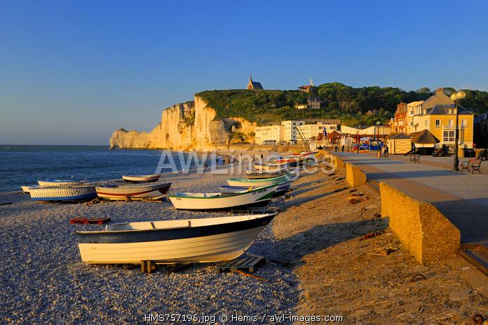 France, Seine Maritime, Pays de Caux, Cote d'Albatre (Alabaster Coast), Etretat and it's beach, in the background the Amont cliff and Notre Dame de la Garde church