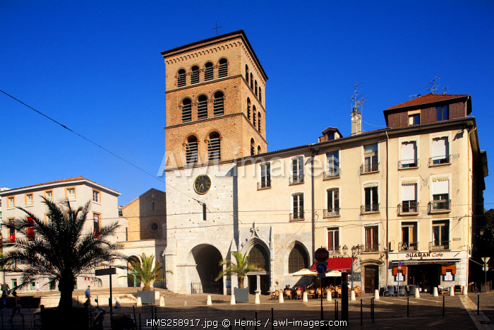 France, Isere, Grenoble, Notre Dame Square, Notre Dame Cathedral built from 10th century with the belltower of the 13th century