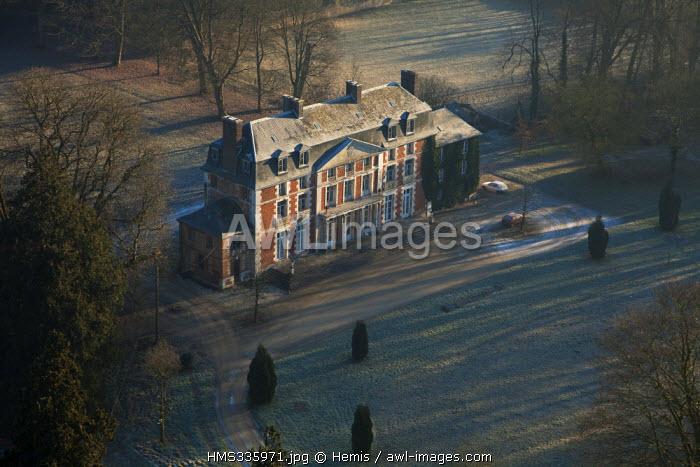 France, Seine-Maritime, Pays de Caux, Allouville-Bellefosse, Bellefosse castle (aerial view)