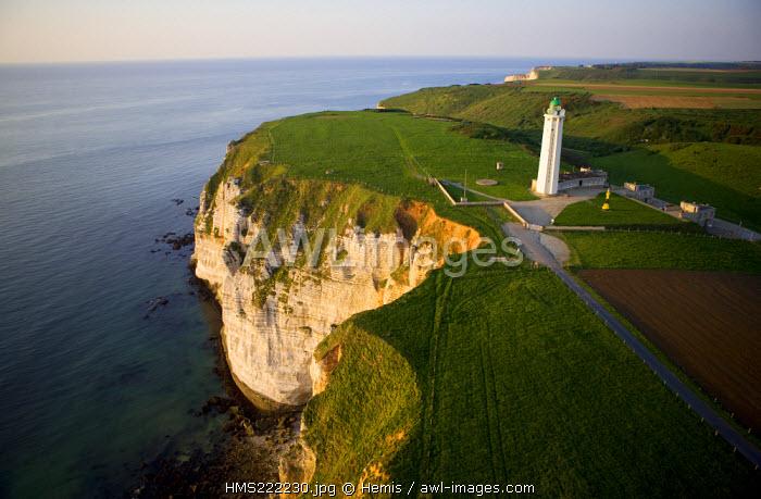 France, Seine Maritime, Pays de Caux, Cote d'Albatre, Etretat, the Aval Cliff, Antifer Lighthouse (aerial view)