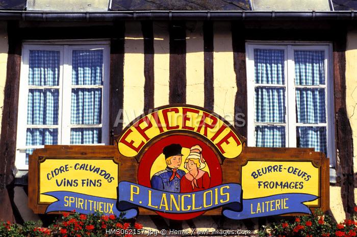 France, Calvados, Pays d' Auge, Beuvron en Auge village, labelled Les Plus Beaux Villages de France (The Most Beautiful Villages of France), grocery sign