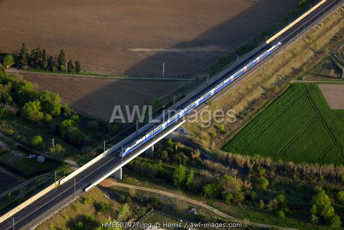 France, Drome, between Donzere and Pierrelatte TGV train in the Rhone Valley (aerial view)