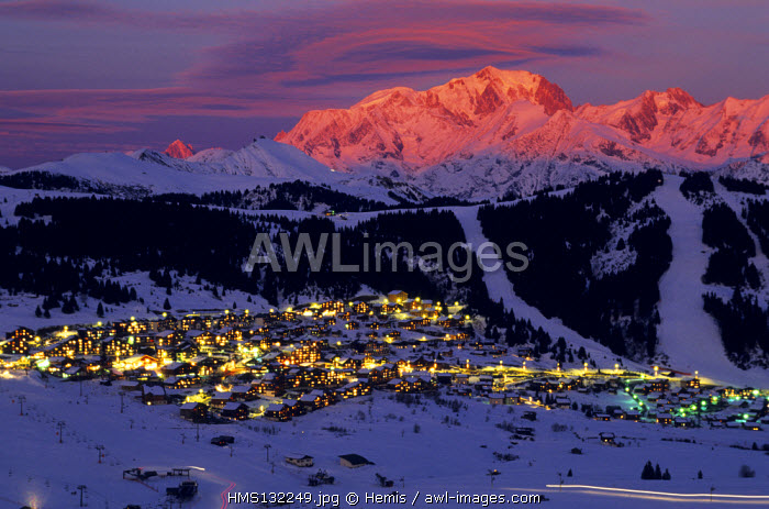 France, Savoie, Les Saisies and Mont Blanc in the Background