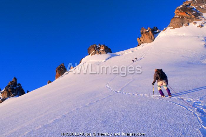 France, Haute Savoie, Mont Blanc Massif, Aiguille du Chardonnet, ascent by Forbes Ridge in the sunrise