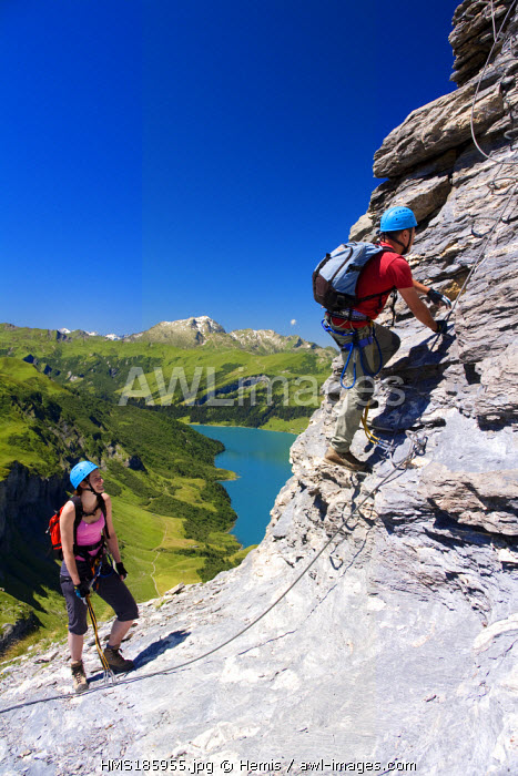 France, Savoie, Beaufortain, Roselend lake, via ferrata from the Rocher du Vent at 2380m