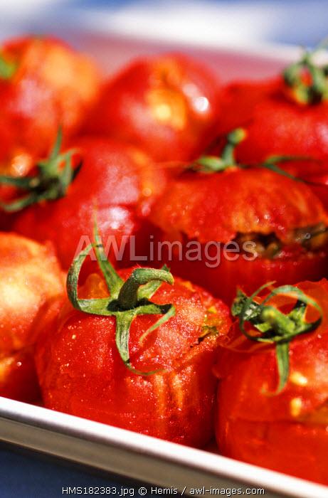 France, Drome, Pont de l'Isere, Ratatouille Stuffed Tomatos cooked by Michel Chabran