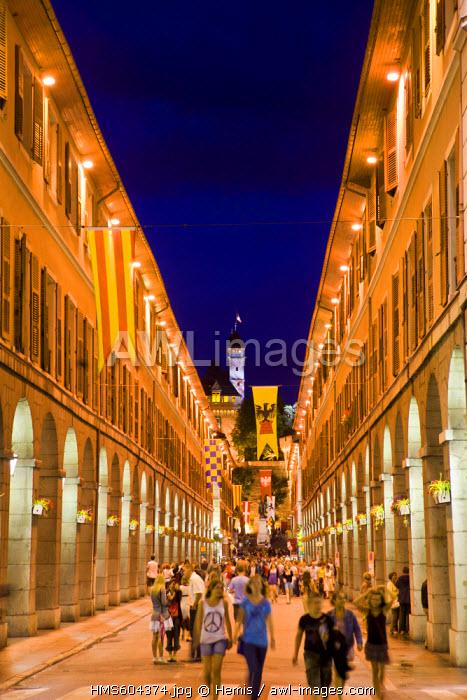 France, Savoie, Chambery, Avenue de Boigne, main street of the old town during the Fete de la Musique (Music Festival) and the Chateau des ducs de Savoie (the Dukes of Savoy's castle)