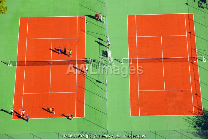 France, Drome, Drome Provencale, Chatillon en Diois, tennis court (aerial view)