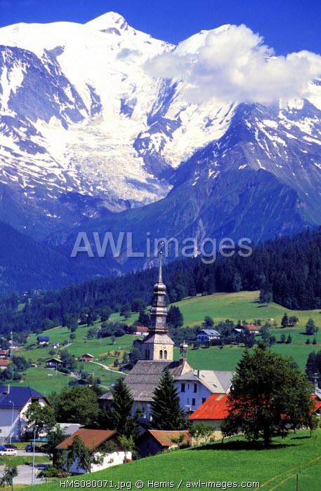 France, Haute Savoie, Combloux village and the Mont Blanc
